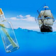 Бутылка с запиской в океане